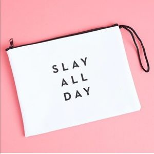 New Milly Zip Pouch Clutch Bag White Slay All Day