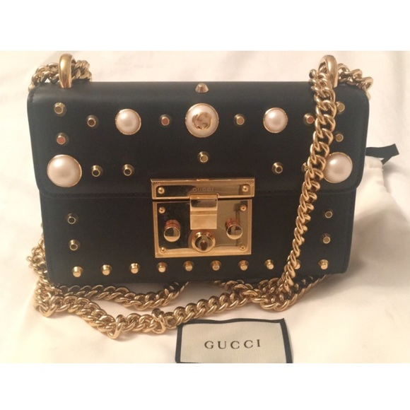 dec51edbec4 Gucci Handbags - Gucci Padlock black studded leather shoulder bag