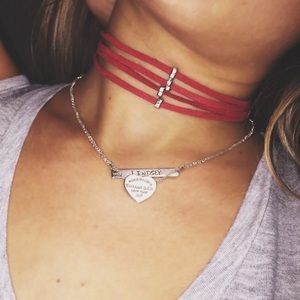 Jewelry - SUEDE RED CHOKER WITH STUDS