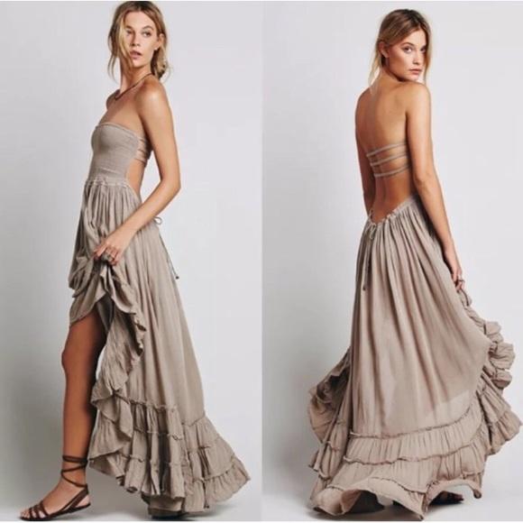 8cb423046f93c austin gal Dresses   Taupe Summer Maxi Dress Beach Halter ...