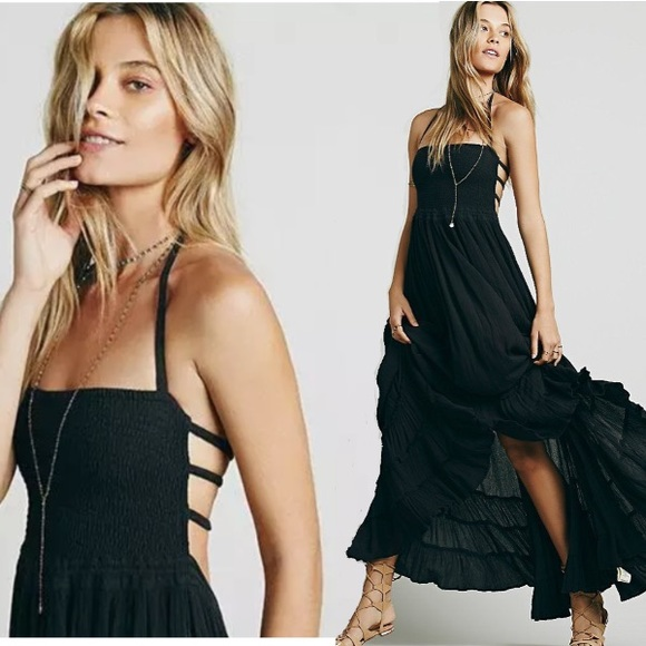 austin gal Dresses & Skirts - Black Summer Maxi DRESS Beach Halter Extratropical