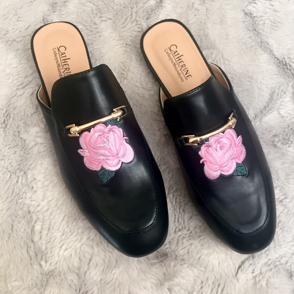 Catherine Malandrino Shoes - Catherine Malandrino black rose embroidered mules