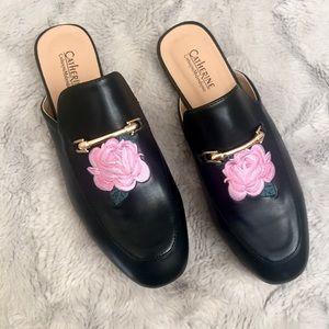 Catherine Malandrino Shoes - Catherine Malandrino black rose embroidered mules