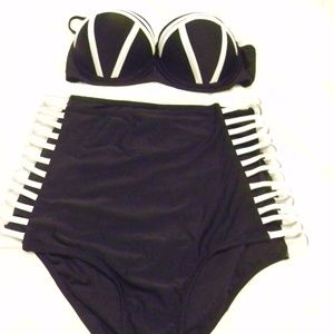 HIGH WAIST BL AND WH BIKINI, CAGE SIDES SZ 12