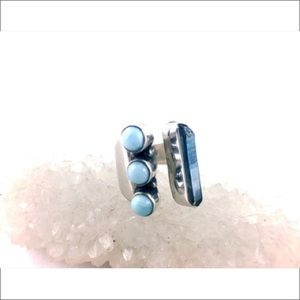 Jewelry - Larimar Aqua Aura Open Ring Size 8 Sterling Silver