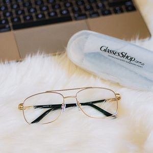 Accessories - NEW Gold aviator clear eyeglasses