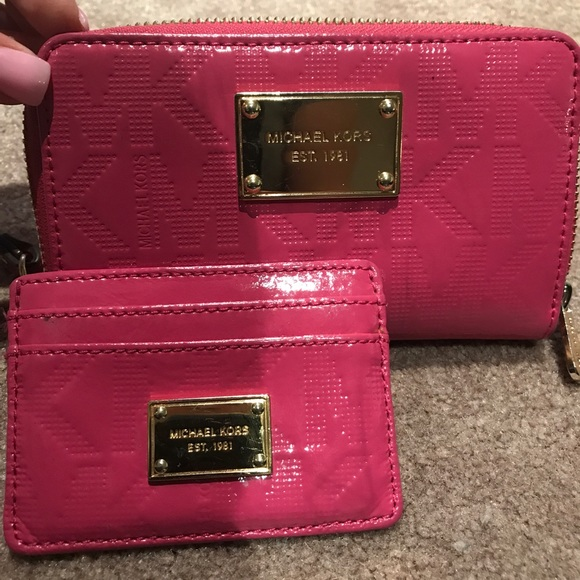 fa95b29554be Michael Kors Bags | Pink Patent Wallet And Card Case | Poshmark