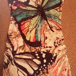 Tops - Butterfly sleeveless top or dress with lace back