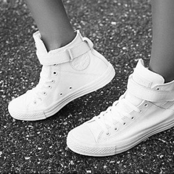 Converse Shoes - Converse women s Brea cap-toe hi-top white leather e979f4cce