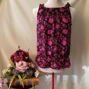 LOFT Purple & black sleeveless shirt