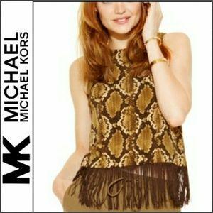💥SALE 💥New MICHAEL KORS Snake Print Fringe Top M