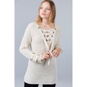 Cream Lace-Up Front Chunky Sweater