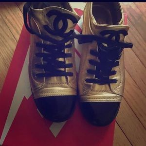 Chanel Sneakers Gold & Black