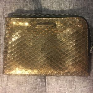 Elizabeth and James Gold Leather Pouch Wallet