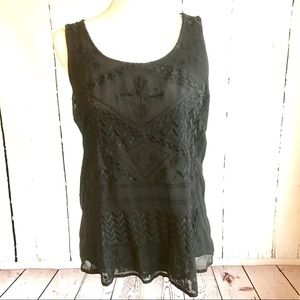 Lucky Brand Black Embroidered Tank