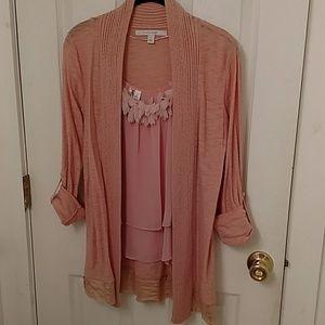 LC Lauren Conrad peach tank XS & sweater S