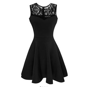 Dresses & Skirts - Black floral lace short sleeve mini dress