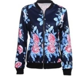 Jackets & Blazers - Blue flower silky bomber jacket