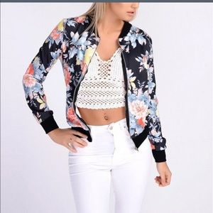 Jackets & Blazers - FREE SHIPPING‼️Blue flower silky bomber jacket
