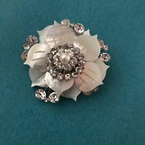 Jewelry - Swarovski & mother of pearl bridal wedding pin