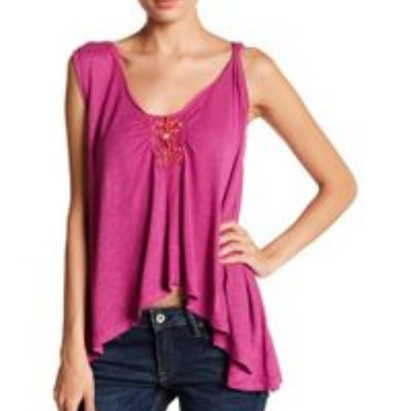 Free People Tops - Free People New Vibes Embellished Pink Tank