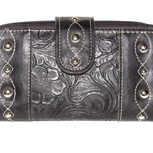 PCH Fashion Faux Leather Tooled Checkbook Wallet