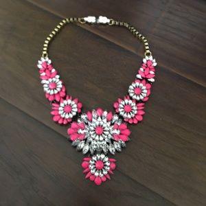Chrystal pink / fushia floral statement necklace