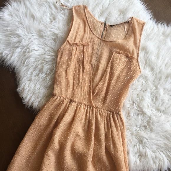 Zara Dresses & Skirts - Zara Peach Nude Sheer Dress