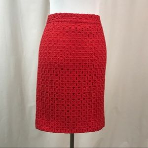 Red J. Crew No. 2 Pencil Skirt 00 Cutout Design