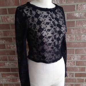NWT LA Hearts Black Lace Crop Top size XS