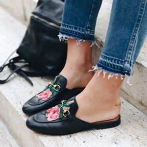 🆕 Bailey Black & Floral Embroidery Loafers Mules