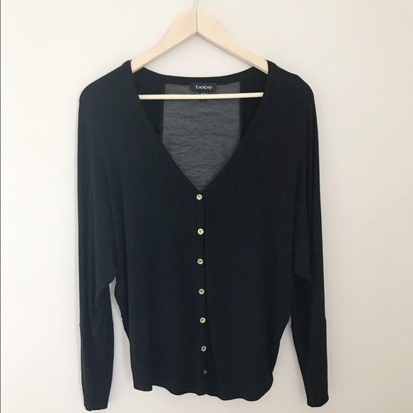 81% off bebe Sweaters - Bebe Sheer Black Cardigan NWOT from ...