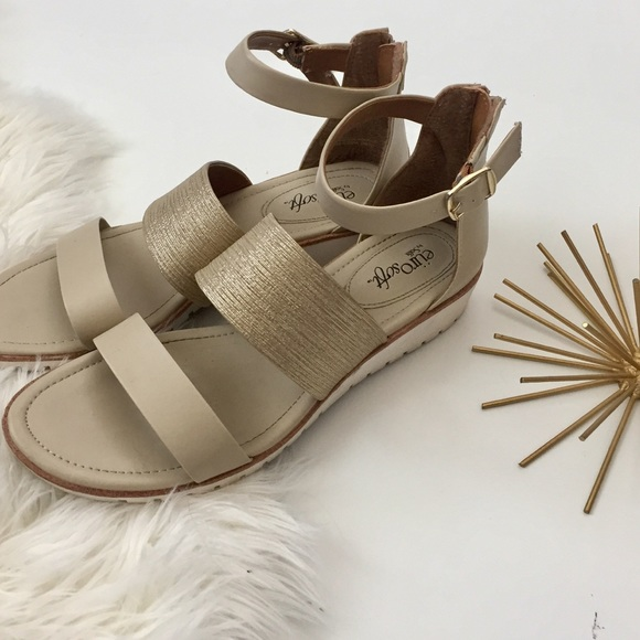 01289189d4ec DSW - Eurosoft Shoes - Cadori Wedge Sandal in Nude Gold