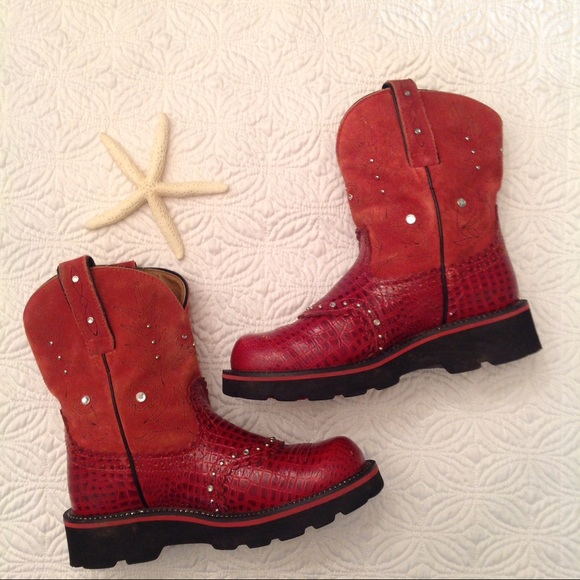 Red Ariat Fat Baby Boots