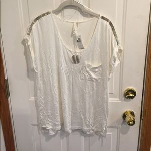 NWT Bellatrix White Top Sequined Shoulders
