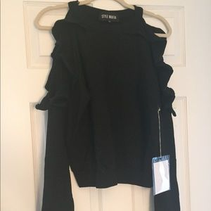 Style Mafia Cold Shoulder Ruffle Sweatshirt