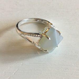 Jewelry - Aqua Chalcedony Gemstone 925 Sterling Silver Ring