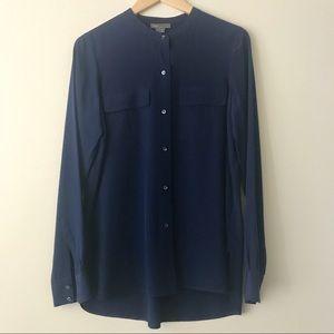 Vince 100% Silk Military Pocket Blouse