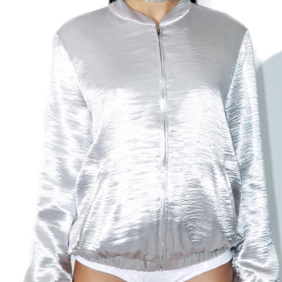 Cotton Candy LA Jackets & Coats - Silver bomber jacket