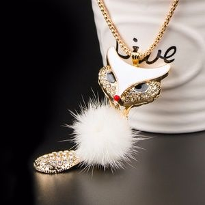 Gold Plated Fluffy Fox Women Fashion Necklace