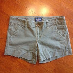 "American Eagle Green Khaki ""Midi"" Shorts"