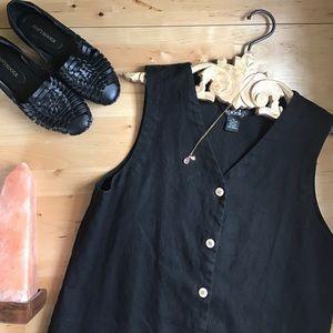 Dresses & Skirts - VINTAGE 100% LINEN/FLAX minimalist button dress