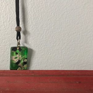 Marbled Rectangular Stone Necklace