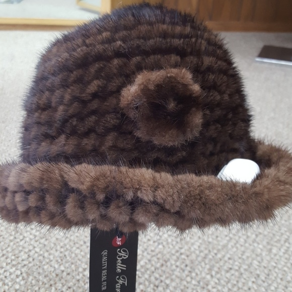702c09be89a Knitted Mink Fur Brim Hat with Rose