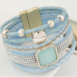 Multi Layer PU Leather Magnetic Lock Bangle