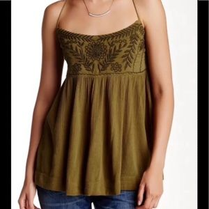 Free People Blackbird Embroidered Tank Army GRN M