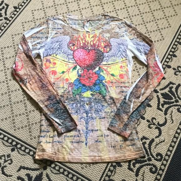 tops hearts on fire tattoo top poshmark