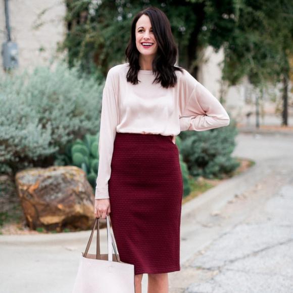 116e14d045 LOFT Dresses & Skirts - Ann Taylor Loft long knit maroon pencil skirt