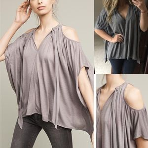 Anthropologie deletta cold shoulder swing top xs s