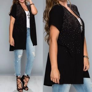 Plus Vocal Crystal Sparkly Black Cardigan Wrap